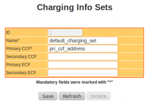 IMS Network Configuration : Charging Info Sets