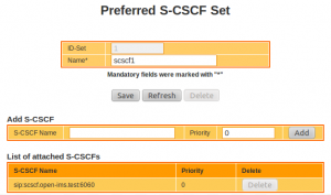 IMS Network Configuration : Preferred S-CSCF Set